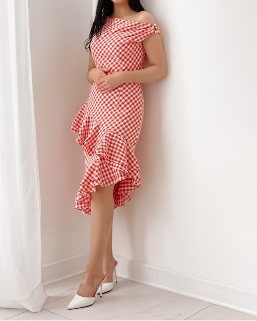 Red checked ruffled dress