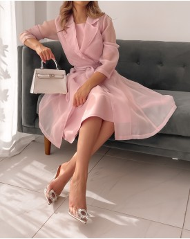 Satin dress toped with organza belted jacket in blush pink