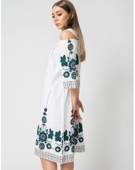 Embroidery Shoulder Cutout Midi Dress