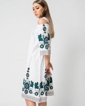 Embroidery Shoulder Cutout Midi Dress