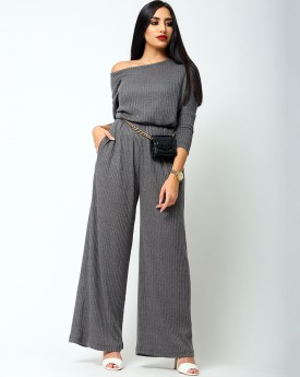 One Shoulder Waisted Brown Jumpsuit