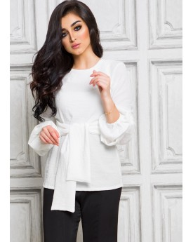 Buffed Sleeves White Blouse With Belt