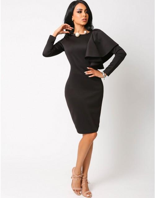 Letouch Side Ruffle Bodycon Black Dress