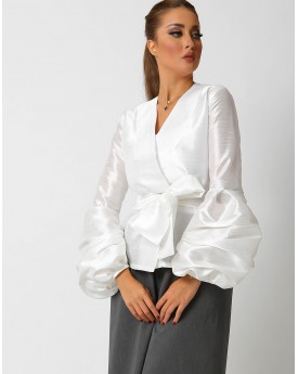 White Belted Buffed Sleeves Jacket