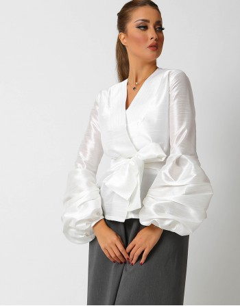 White Belted Buffed Sleeves Jacket