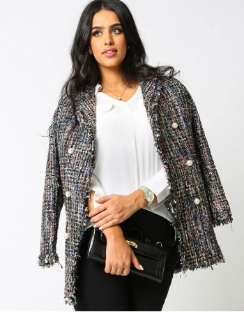 Bouclé Tweed Coat with Pearl Buttons