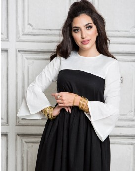 White Half Top With Frill Sleeves