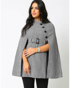 Waisted Checked Cape