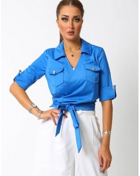 Electric Blue Wrapped Top