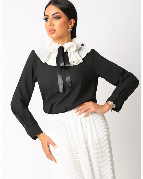 Black Blouse With Ruffled Collar