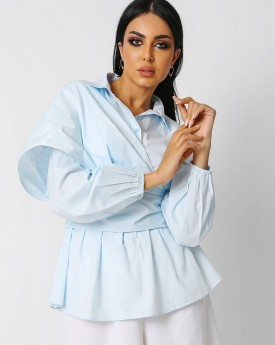 Baby Blue Shirt With Wide Belt