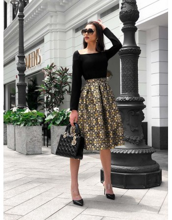 Golden box pleats midi skirt