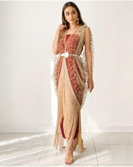 Maroon tube dress with full embroidery tulle kimono