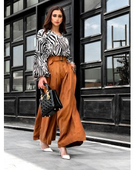 Brown Culottes Trousers With Belt