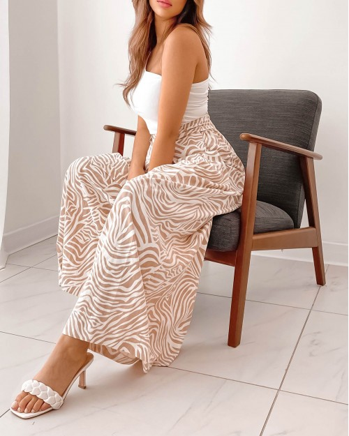 Culottes Trousers With Belt In nude zebra