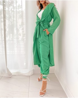 hooded longline coat with jogger in green