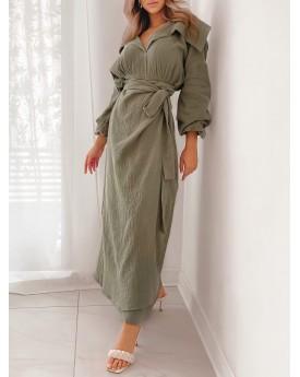 Wrinkled khaki maxi wrapped dress