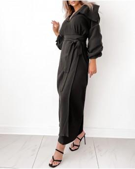 Wrinkled Black maxi wrapped dress