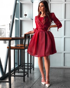 Maroon crepe pleated dress toped with organza belted jacket