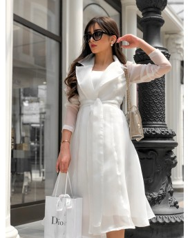 Satin dress toped with organza belted jacket in white