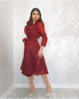 Crepe dress toped with organza belted jacket in maroon