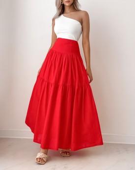 Maxi cherry red layered skirt