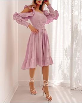 cutout shoulder bodice skater dress in lavender