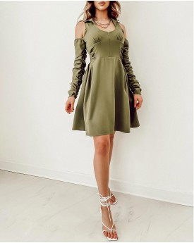 Cold shoulder with front zipper detail dress