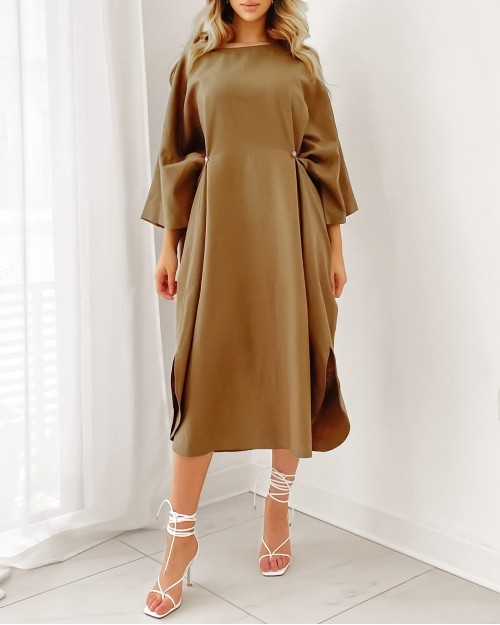 Khaki oversized round neck with buttons details dress