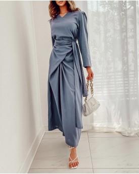 V neck with waist wrap around style