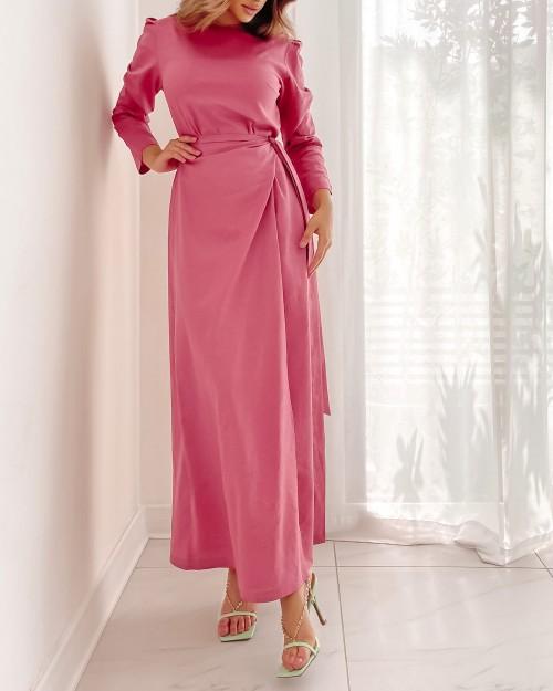 Linen side wrap maxi dress in Pink
