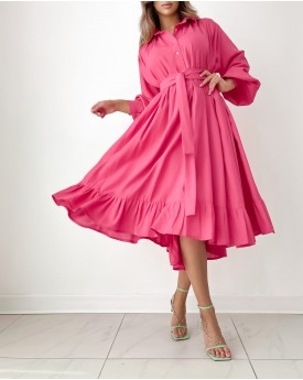 Midi oversized shirt dress in fuchsia