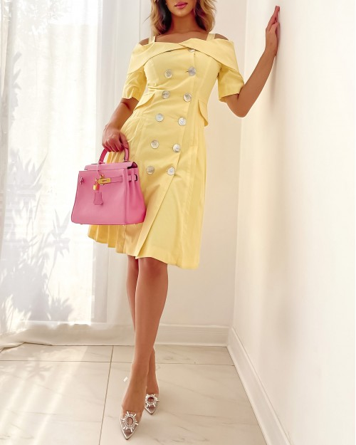 Yellow cotton cold shoulder with side pleats dress
