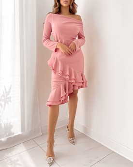 Blush pink long sleeves ruffled dress