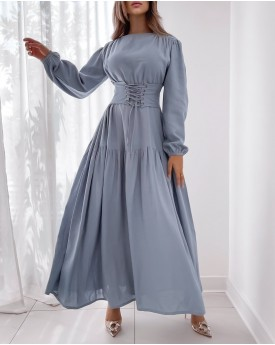 Baby Blue maxi dress with strapped belt effect
