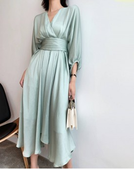 Wrap effect draped v neck dress