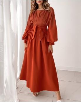 Waist pleated rust maxi dress