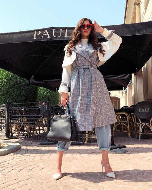 Checked trench coat with white contrast