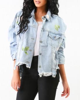 Flower Print Denim Jacket