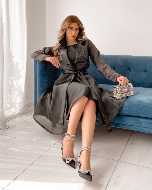 Satin dress toped with organza belted jacket in black