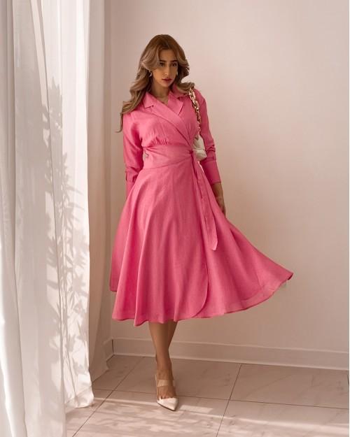 Pink midi skater wrap dress