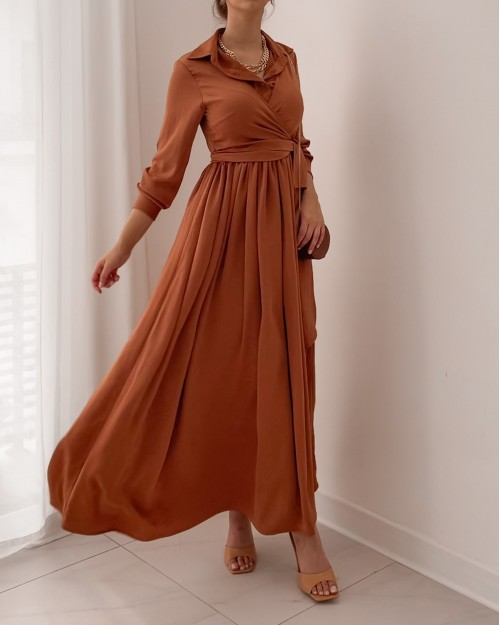 Rust maxi dress with front wrap