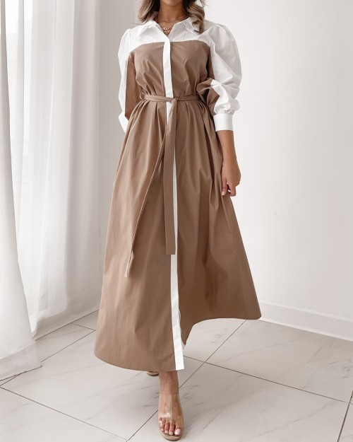 Contrast belted maxi shirt dress