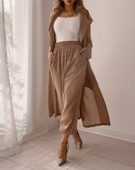 hooded longline coat with jogger
