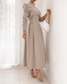 High neck maxi dress with side strap detail