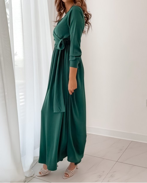 Green maxi dress with front wrap