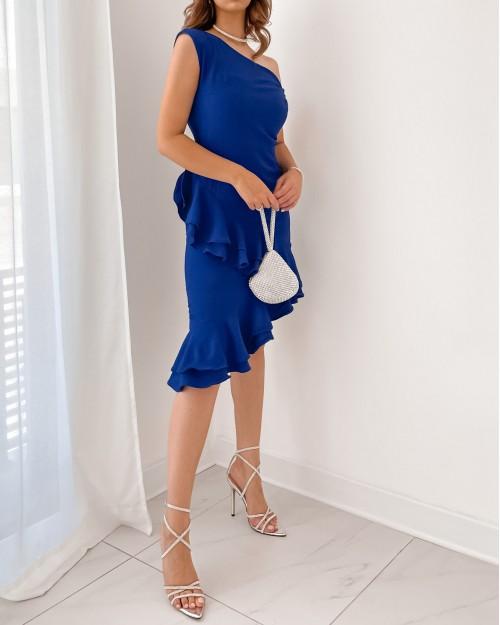 Royal blue ruffled dress