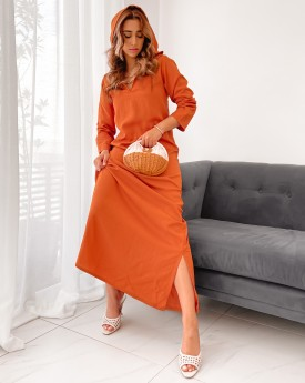 hooded maxi dress with side splits