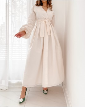 Buffed Sleeves off white raw silk maxi dress