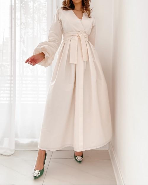 Buffed Sleeves off white raw silk maxi dress